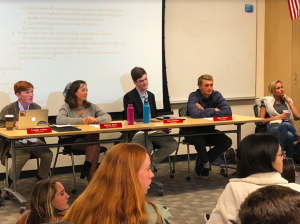 Leadership students Freddie Kehoe, Melissa Block, Greg Dachtler, and Harri Hetrick (Left to Right) answer questions in student forum
