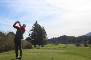 Solter smashes a drive on the 14th hole at the Meadow Club