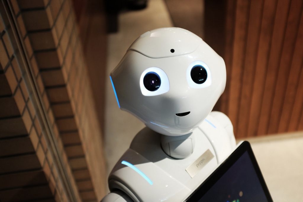 "Peering up at the camera, artificially intelligent robot ""Pepper"" learns based on its environment and what it is taught."