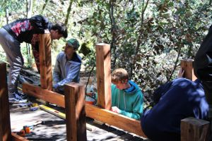 Courtesy of Carl Valdes. Carl Valdes and his friends work together on the new footbridge on Mount Tamalpais.