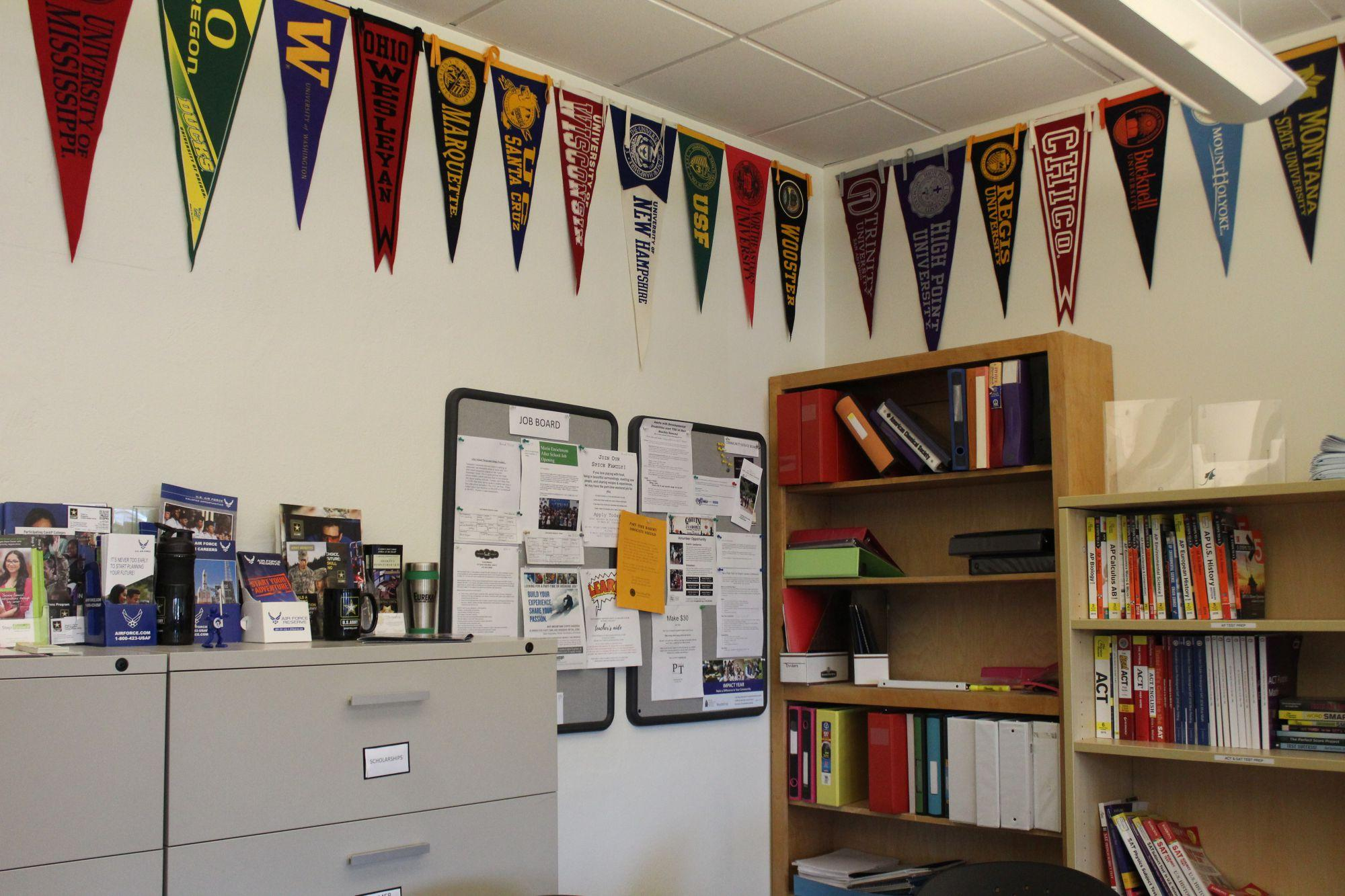 Banners hang in the College and Career Center showing off different colleges.