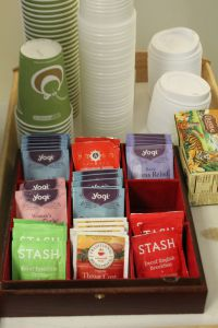 The Wellness Center offers a spot for students to enjoy stress-relieving tea.