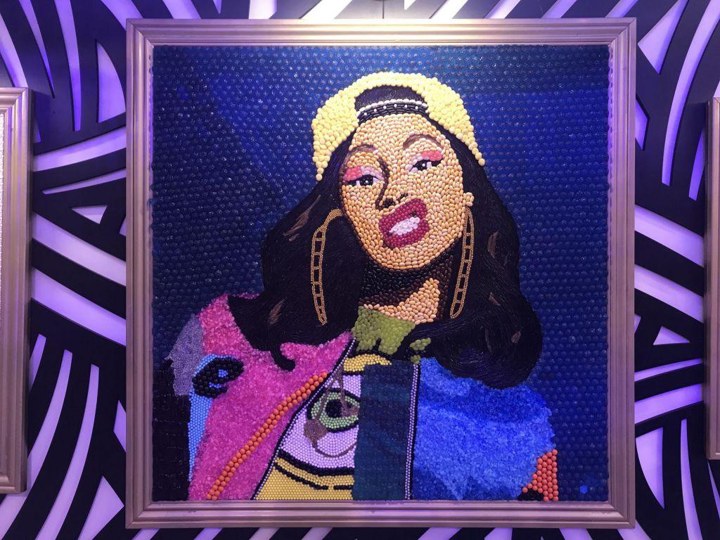 Created with pop rocks and jelly beans, Cardi B's portrait flashes a grin.