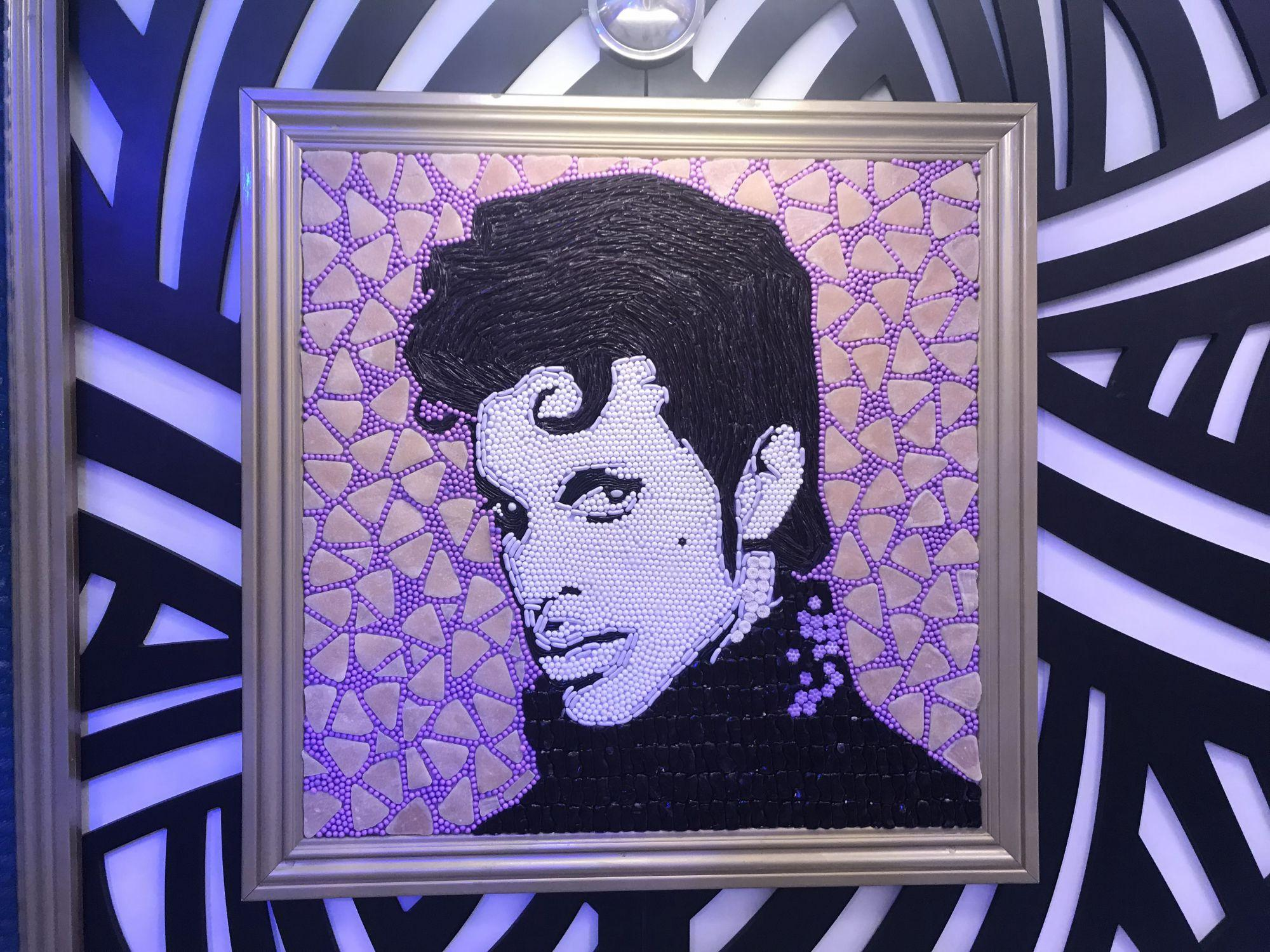 +Characterized+by+his+trademark+color+purple%2C+the+artist+recreated+Prince+with+black+licorice+and+candy+pearls.+