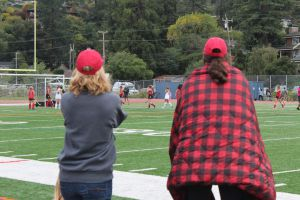 Focussing on the game, Coaches Jen Reidy and Aline Copp pay close attention to each play.