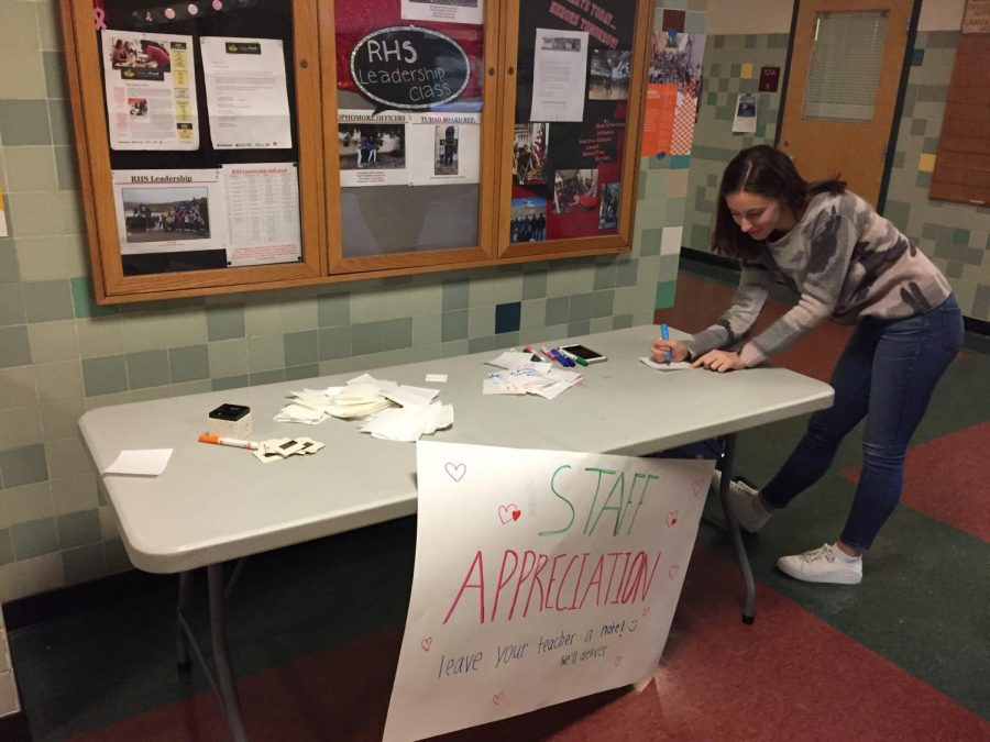 Redwood students show their appreciation for their teachers by writing and delivering notes