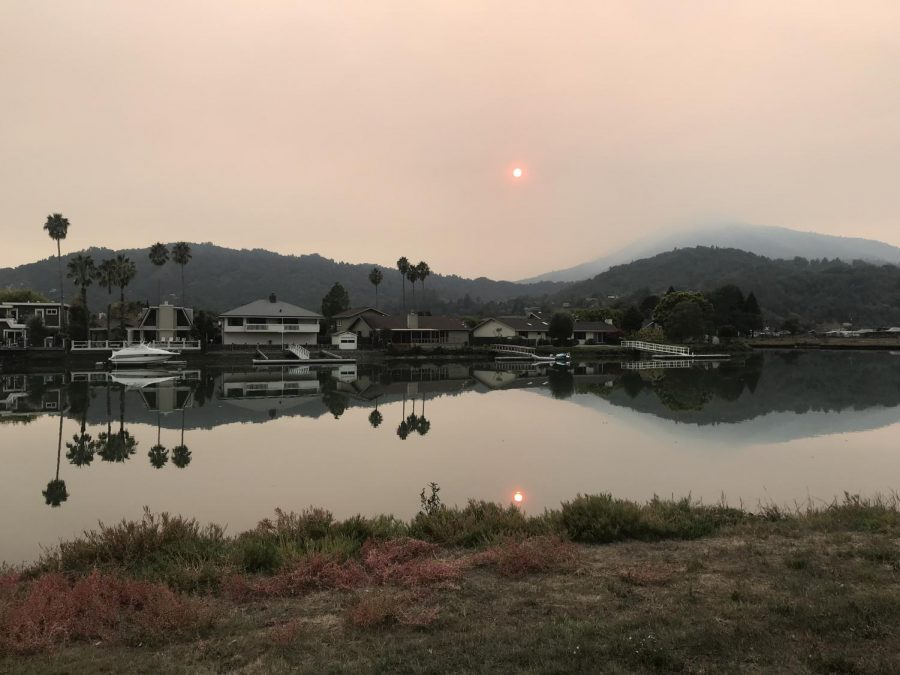 Clouded by smoke from the Camp Fire, Mount Tamalpais was barely visible on Friday, Nov. 9.