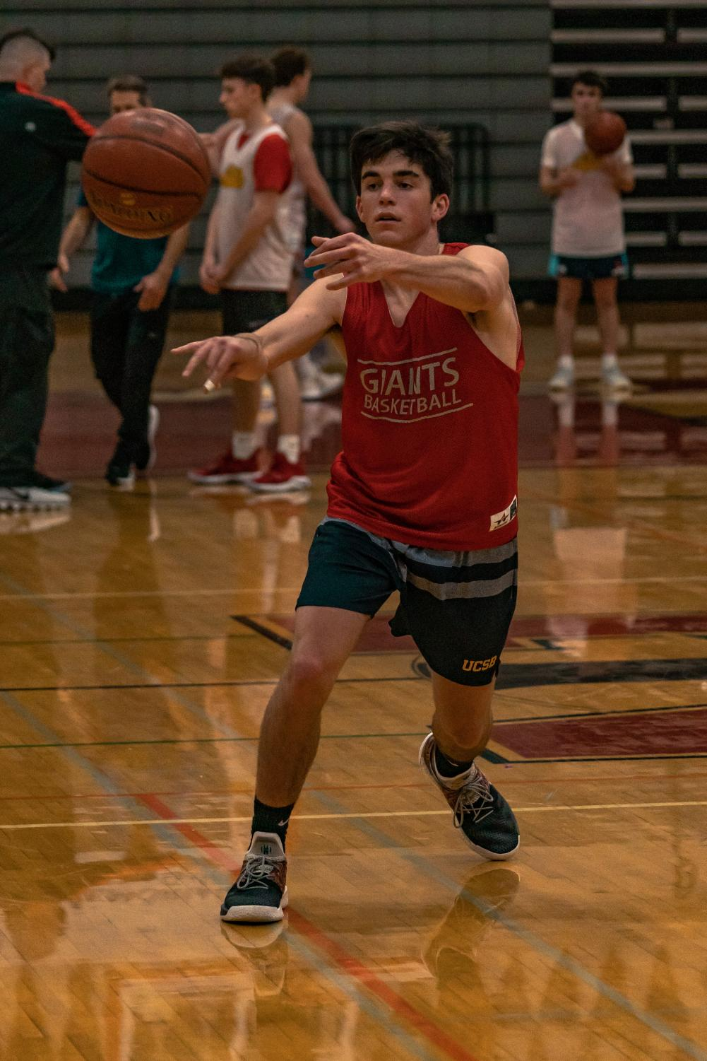 Jake Mathews, who won Marin IJ's prep of the week on Dec 17. 2018, passes the ball to his teammate during a ball control drill in practice.