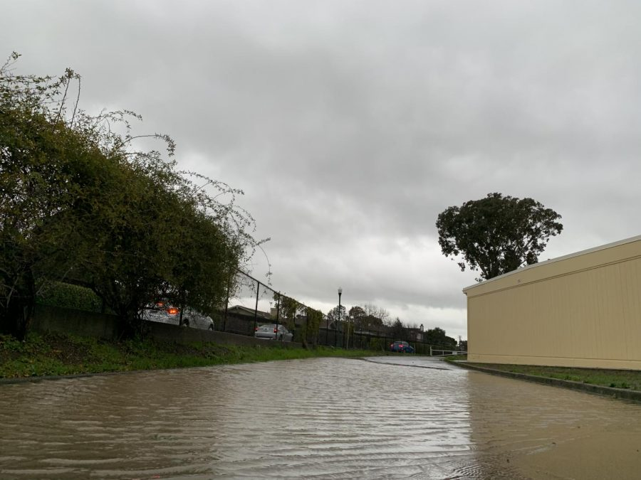 Undesirable weather conditions throughout the day led to the flooding of a section of the street near the Drama bathrooms. Paired with sweeping gusts of wind, the rising King Tide has contributed to flooding in some areas of the campus.