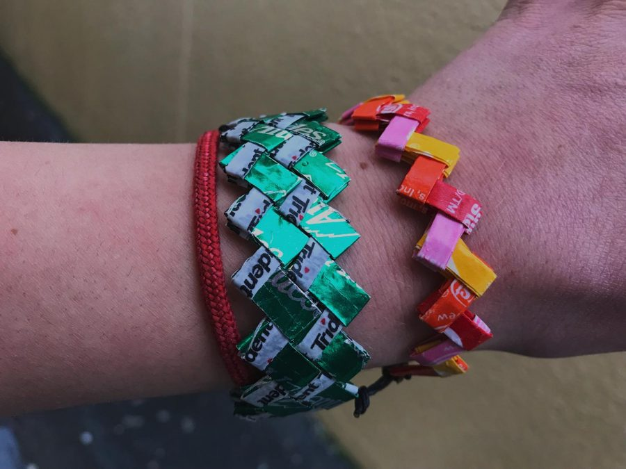 Shown+on+Fister%2C+a+combination+of+Trident+gum%2C+Andes+Chocolate+and+Starburst+wrappers+were+used+to+create+these+bracelets.+