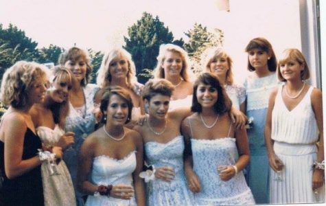 Debbie Fraschetti and friends before their Senior ball in 1985.