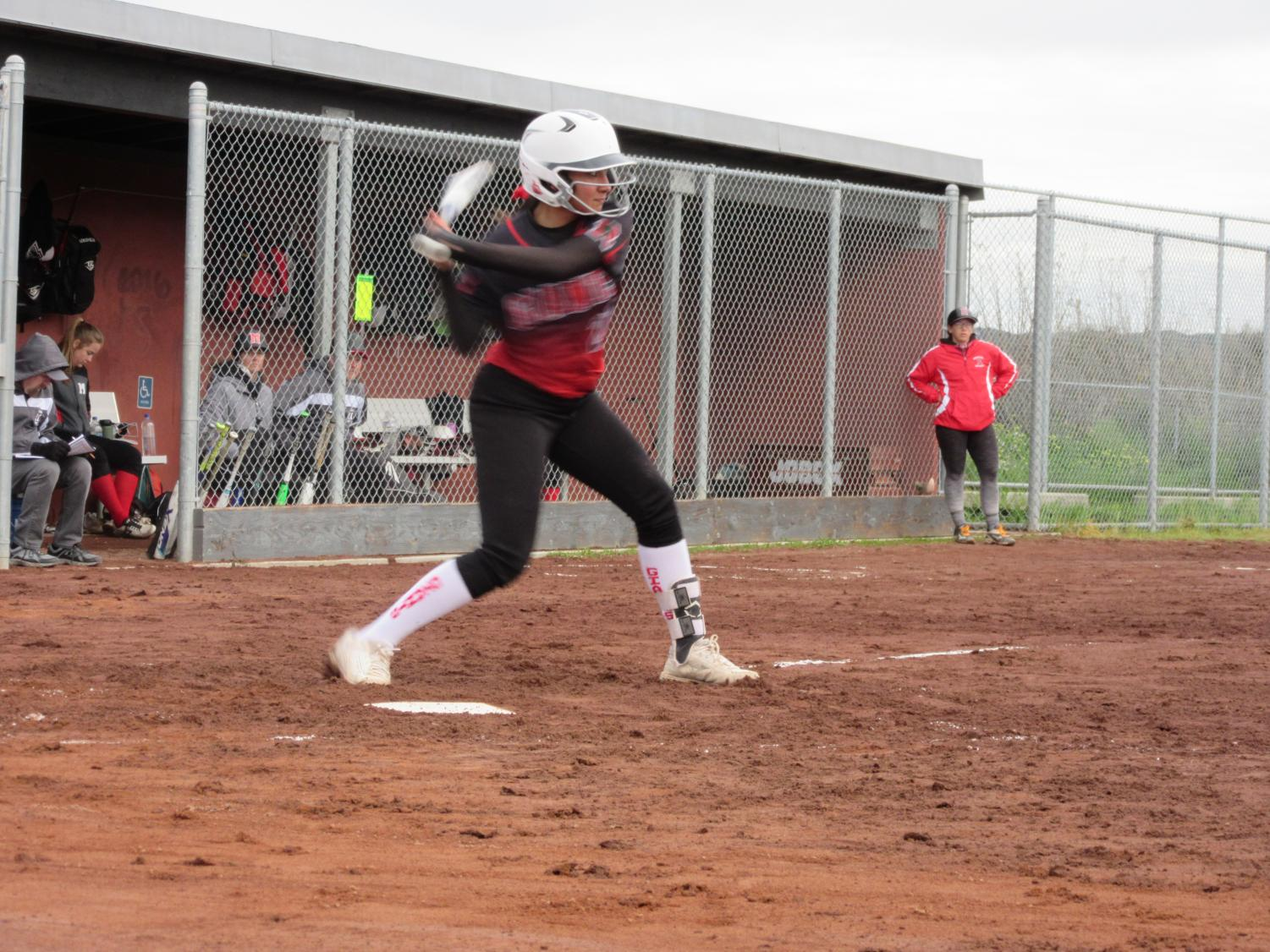 Hoping to spark a run, Kaleikini hit's a leadoff single to open the inning.