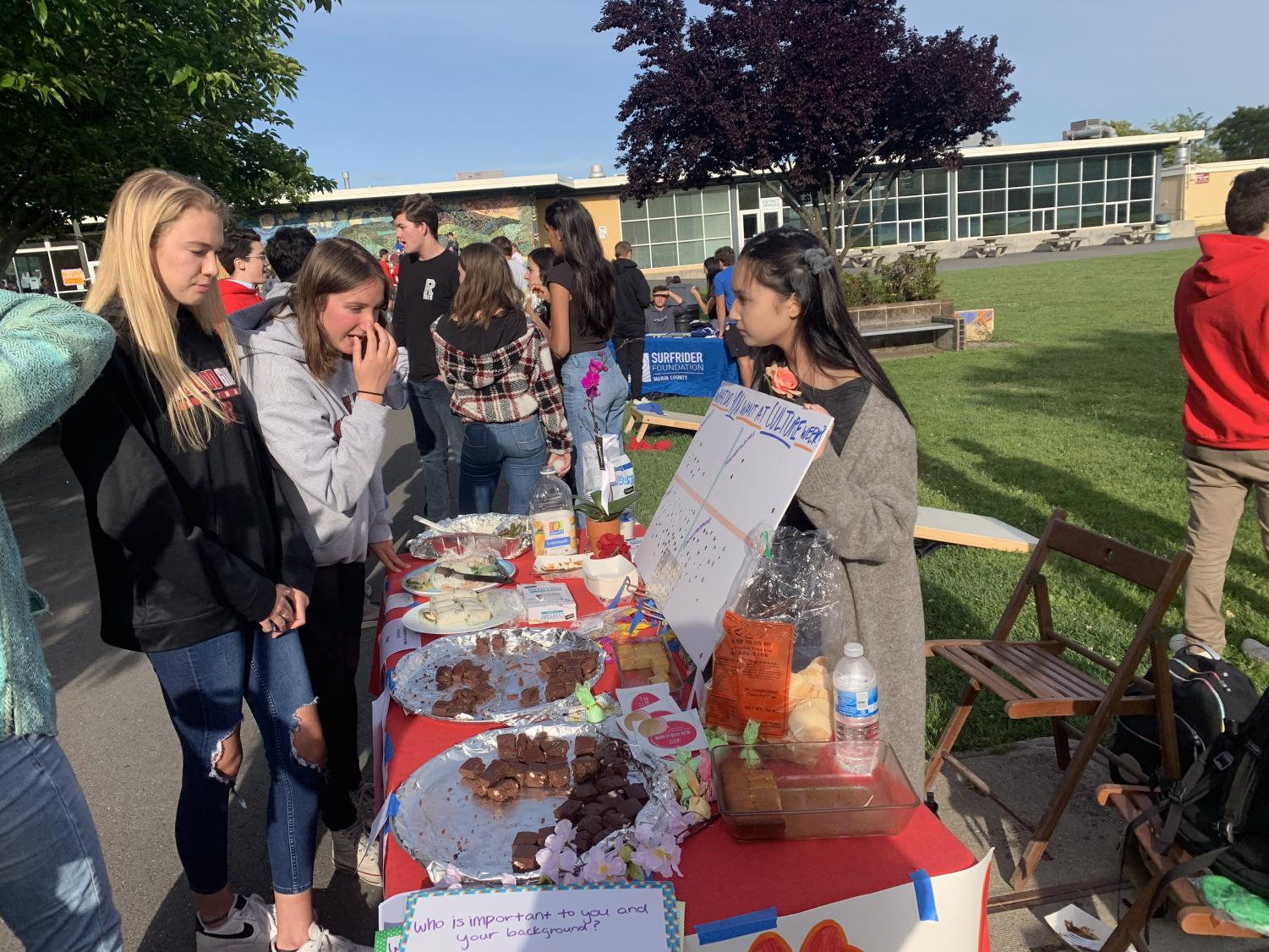 Spending time at the Food Truck Friday event organized by Link Crew, students interact at various tables set up around the South Lawn.