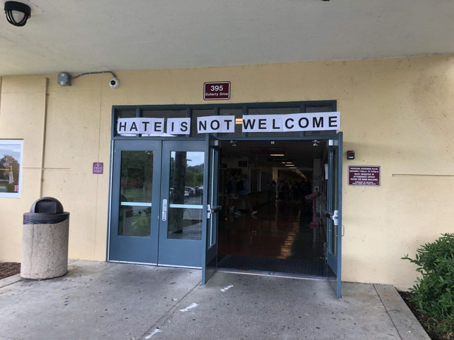 Monday morning anti-hate posters greeted students at the front entrance of the school.