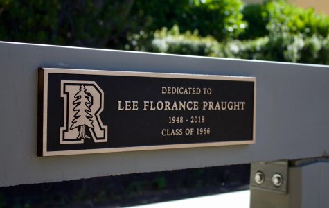 The plaque dedicated to Lee Florance Praught recently installed in Redwood's main quad.