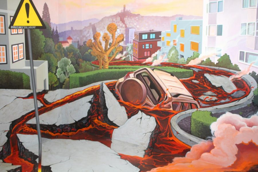 In the Museum of Illusions, the painting of Lombard Street combines the day-to-day with the surreal, exchanging the bricks for lava.