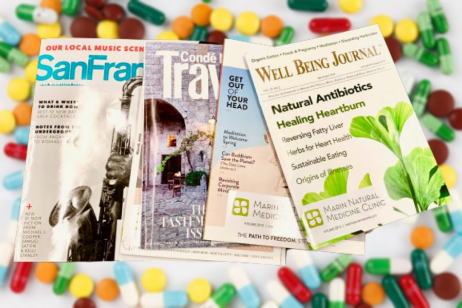 Magazines provided at Marin Natural Medicine Clinic. Photo Illustration by Lily Baldwin.