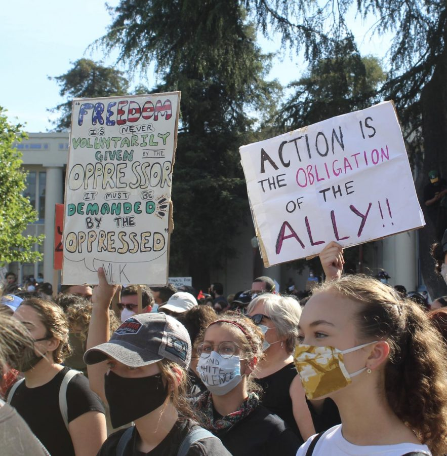 These protesters carried signs that read Action is the obligation of the ally, and Freedom is never voluntarily given by the oppressor, it must be demanded by the oppressed.