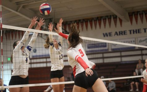 Girls' varsity volleyball team prevails in the Trojan War against Terra Linda