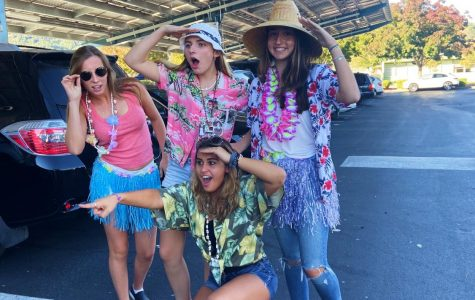 Seniors Skylar Strotz, Natalia Siri, Lauren Steele and Gianna Panzardi show school spirit on Tropical Tuesday