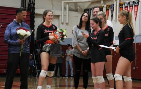 On the last game of the season, the Girls Varsity Volleyball team commemorated their senior players with gifts and bittersweet farewell speeches.