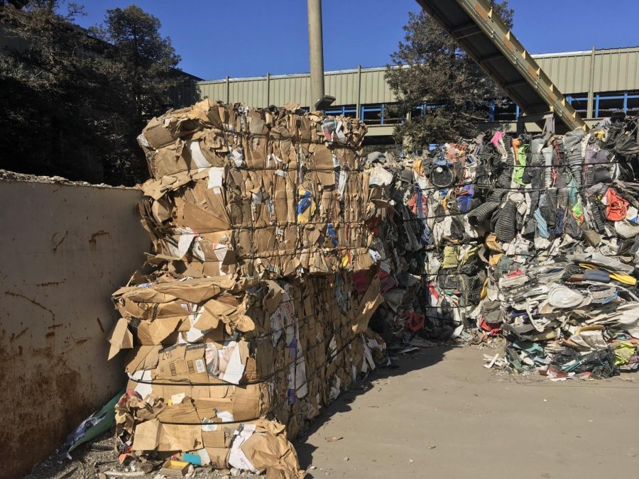 Cardboard at the Marin Sanitary service sits, waiting to be recycled.