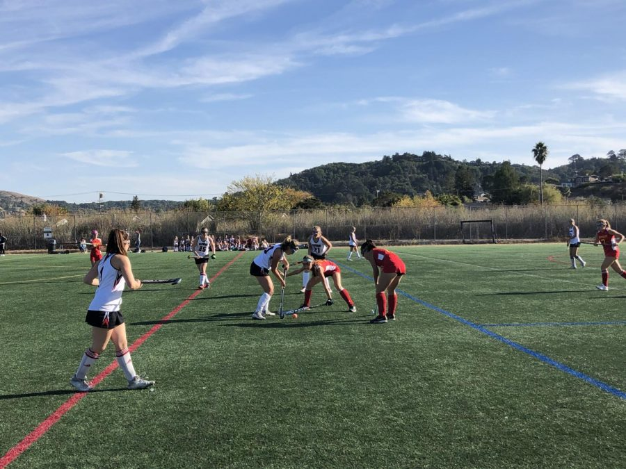 The+Redwood+girls+field+hockey+team+battled+it+out+against+Berkeley+High+on+Oct.+10%2C+taking+the+win+with+a+final+score+of+6-2.+