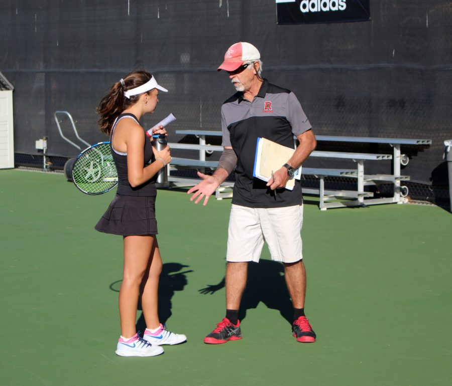 Junior+Gabriela+Rosenfeld+listens+attentively+to+her+coach.+