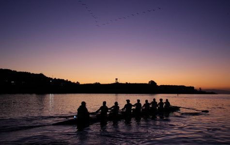 Passing San Quentin Prison, the Masters Novice rowing team finishes their morning practice
