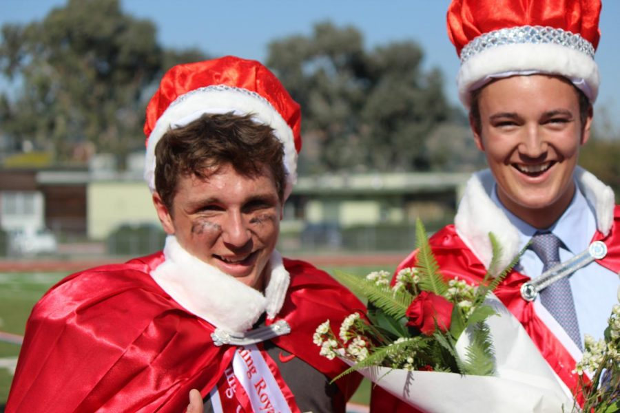 Crowned Homecoming Royalty, seniors Joe Calzaretta and Garrett Cook are the first pair of males to win in Redwood history.