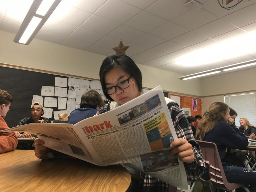 A student looks over the most recent issue of the Bark in class.