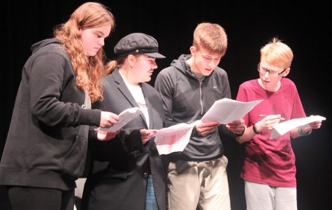 Intermediate actors perform a short play in room 306 on Saturday night.