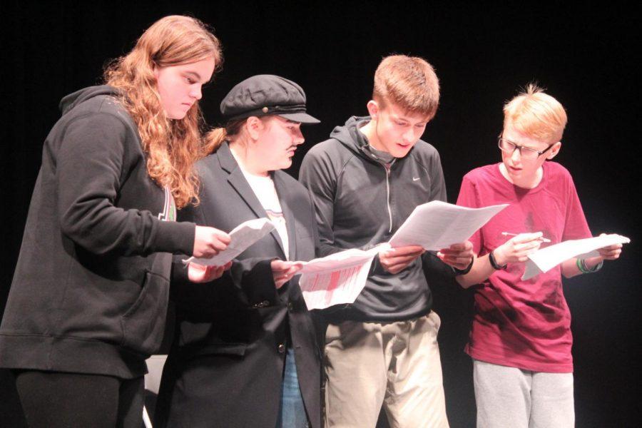 Intermediate actors perform a short play in room 306 on Saturday night.