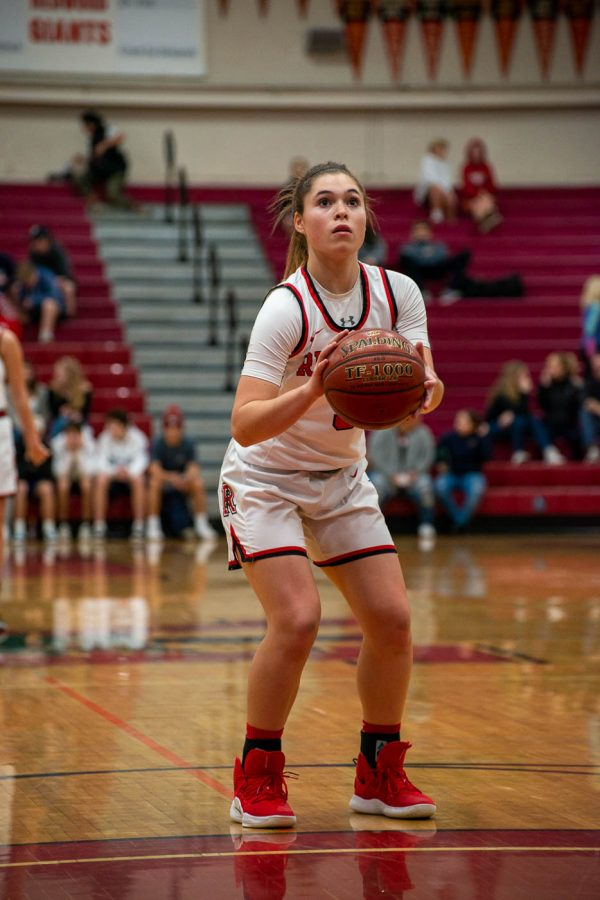 Sophomore and varsity player Nathalia Bernstein prepares for a free throw against Marin Catholic at Game Night.
