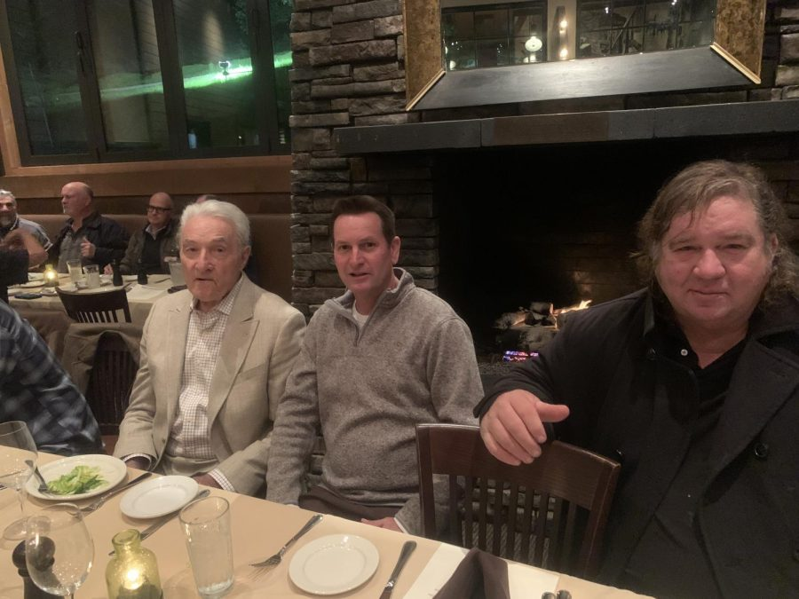 Former Redwood baseball coach Al Endriss, current coach Mike Firenzi, and former player Ryker Schenck sit together at their alumni dinner.