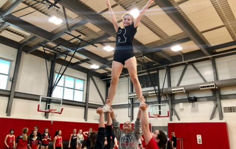 Varsity cheerleaders practice for their upcoming performances.