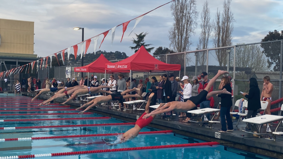 Diving into the season, Redwood swimmers take on San Rafael High school in their first meet of the year.