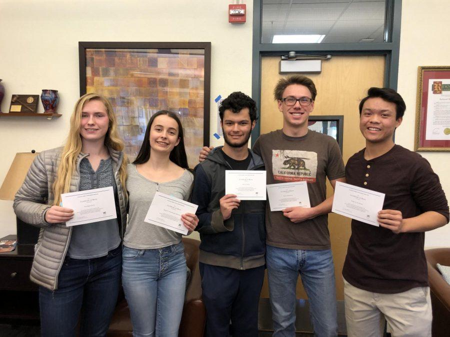 Seniors Eva Oppenheim, Abigail Hjelmsta, Owen Ross, Ryan Redmond, and Drake Goodman were awarded finalists in the National Merit Scholarship Program 2020.