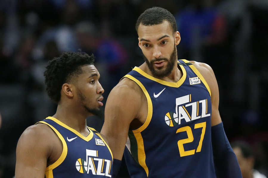 Utah Jazz center Rudy Gobert and guard Donovan Mitchell, who have both tested positive for Covid-19 (Courtesy of Duane Burleson)