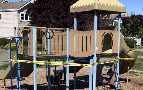 Local parks are discouraging the spread of COVID-19 by prohibiting access to play structures, as is the case with this playground in Niven Park.
