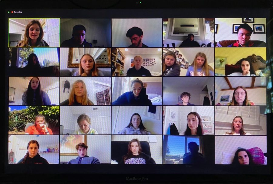 On a Zoom call, the Bark staff works on their next online issue covering the COVID-19 outbreak.