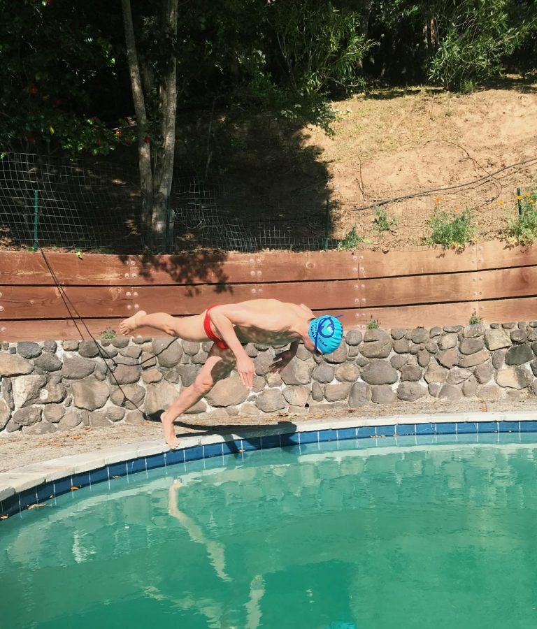Sophomore Gavin Green, a North Bay Aquatics swimmer, finds ways to maintain his athleticism through resistance training in his pool.