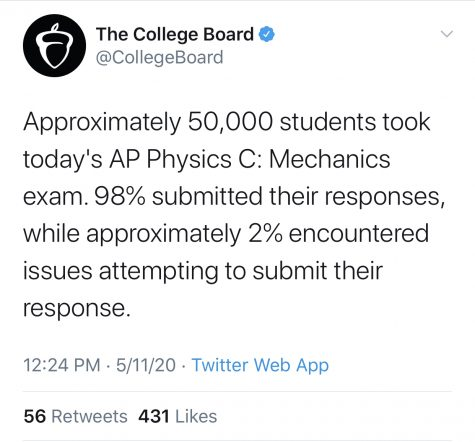 Following the Advanced Placement Physics C Exam, lots of students reported trouble submitting their exams, prompting a response from the College Board over social media. Tweet Courtesy of the College Board's Twitter Account.
