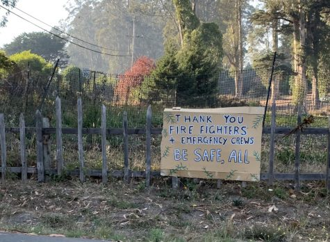 With the fire-evacuation warning recently lifted for Bolinas, residents dot nearby roads with handcrafted signs of thanks to firefighters and emergency workers.