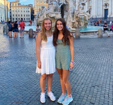 Standing in front of the Trevi Fountain, Lily and Alyssa McCadden explore Rome, Italy.