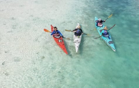 Kayaking into the ocean, Island School students participate in their kayaking trip. Photo courtesy of the Island School