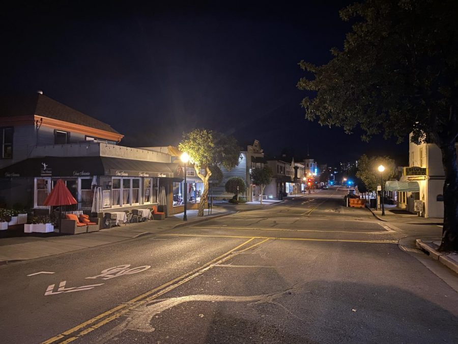 A 10 p. m. curfew was put in place by California governor Gavin Newsom to prevent the spread of COVID-19, affecting local businesses in Larkspur's now quiet downtown.