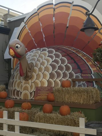 Town Center shows their Thanksgiving spirit with a giant turkey that also serves as a food donation container to give back to those who may not have a warm, Thanksgiving dinner for themselves.