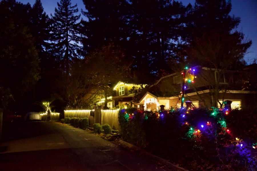 Even though Larkspur is more restricted in the purple tier, its neighborhoods show festivity and light up their streets for the holidays.