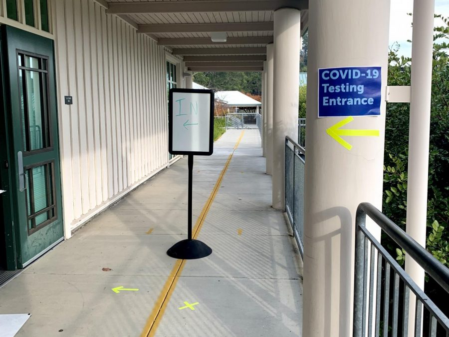 Rooms at Bel Aire Elementary School in Tiburon have been converted to COVID-19 testing sites.